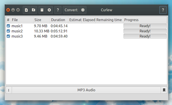 Curlew Ubuntu m4a mp3 変換