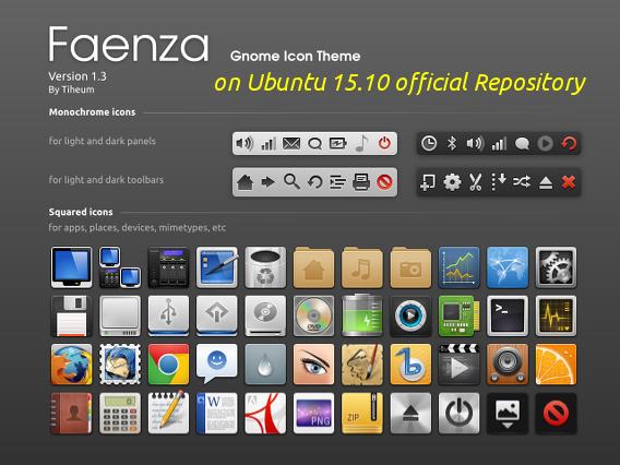 Faenza Icons Ubuntu 15.10 アイコン インストール